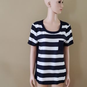 J.Crew striped navy and white top size small
